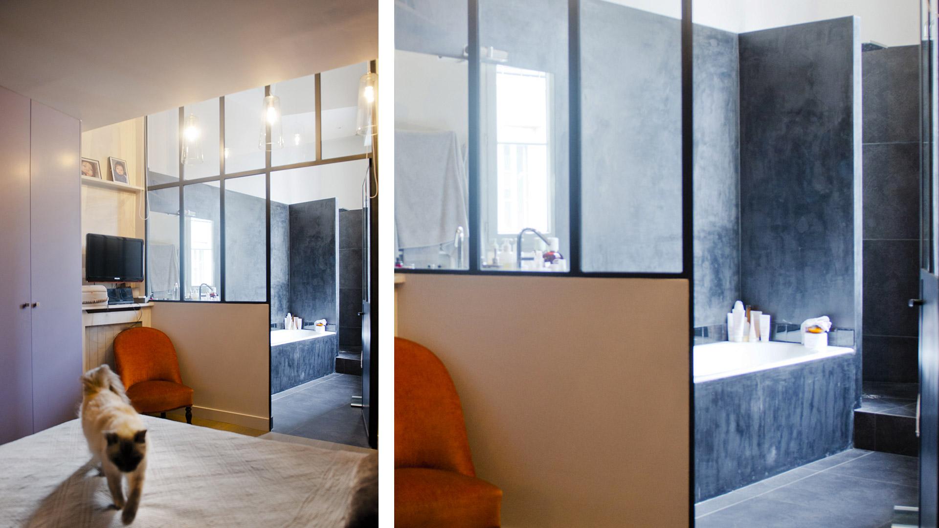 Suite parentale avec salle de bain ouverte for Salle de bain dans suite parentale